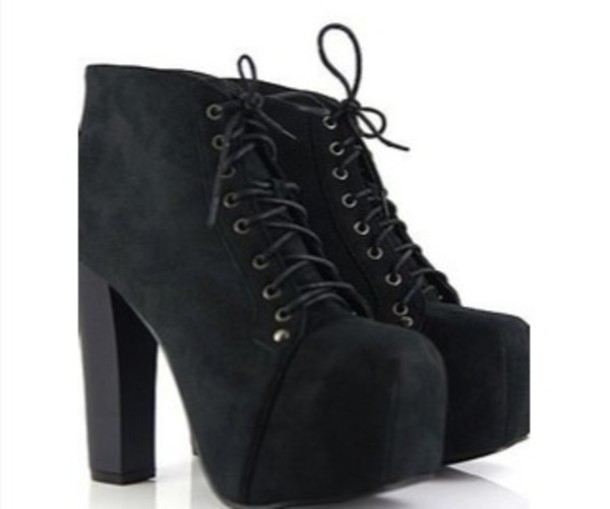 shoes high heel platform shoes ankle boots heels black shoes laces platform lace up boots black