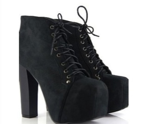 shoes heels black shoes platform lace up boots black