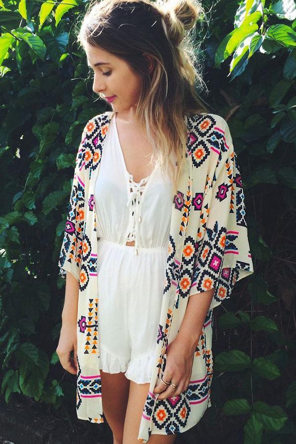 jacket cardigan festival pattern white lace jumpsuit kimono