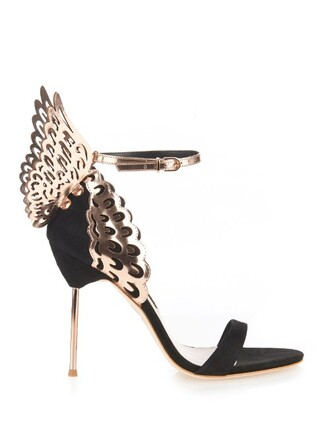 angel sandals gold black shoes