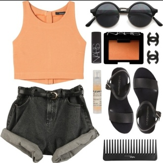 high waisted shorts black high waisted shorts belt high waist shorts with belt orange crop top black sandals nars round sunglasses tank top shoes sunglasses jewels