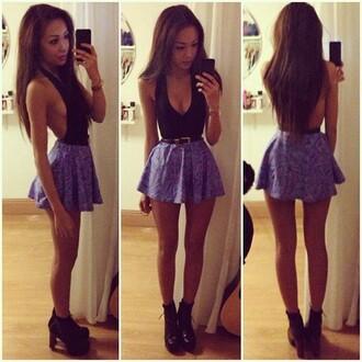 dress shirt skirt blouse open back top black top belt belted dress fashion black purple violet tumblr shoes high heels