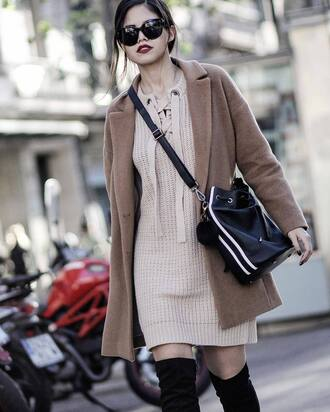 coat tumblr camel camel coat beige fluffy coat fluffy fuzzy coat bag black bag bucket bag sweater sweater dress beige sunglasses
