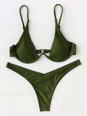 swimwear,green,girly,underwire cups,army green,bikini,bikini top,bikini bottoms,two-piece