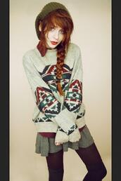 sweater,jumper,red,green,grey,aztec,pattern,shirt,skirt,colorful,fall outfits,fall sw,winter outfits,blue