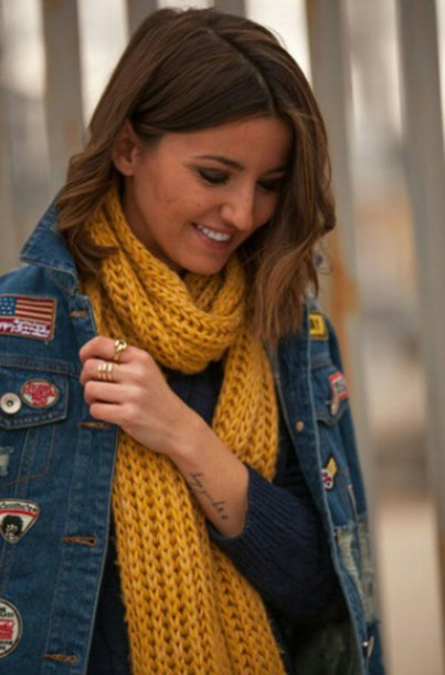 scarf yellow yellow scarf scarves scarves jacket denim jacket