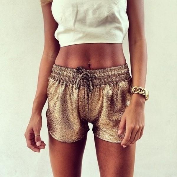 shorts gold metallic elastic waist glitter