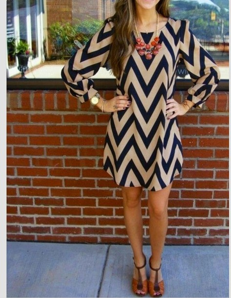 dress black camel long sleeve dress chevron blouse nude statement necklace chevron dresses tan and navy chevron dress blue and cream cheveron short party dresses high-low dresses smart zigzag pattern blue and white