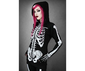 jacket hoodie skeleton punk black sweater