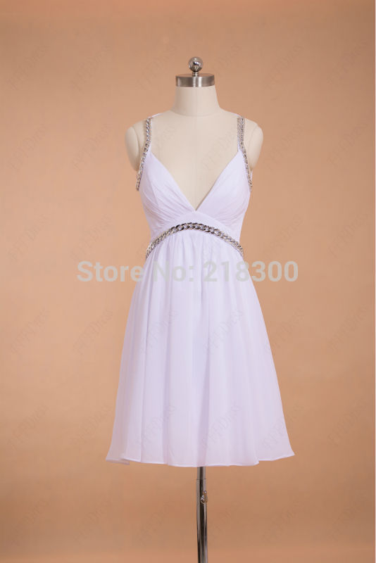 Aliexpress.com : Buy V Neck Sexy Backless White Short Prom Dresses Open Back Chiffon Cocktail Dresses from Reliable dress sweaters for men suppliers on MyPromDresses   Alibaba Group
