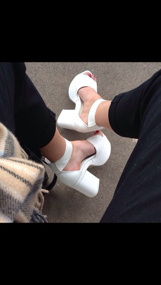 shoes pump white heel platform white platform jeffrey campbell jeffrey campbell shoes high heels white heels chunky
