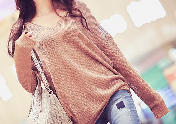 blouse sweater beige top