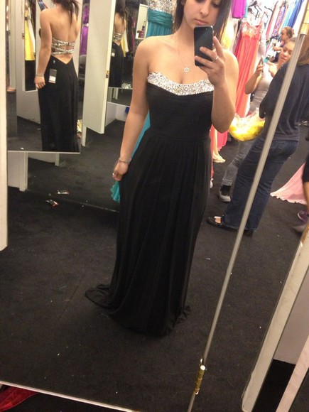 dress open back black prom prom2014 strapless sequin perfect prom dress le famme