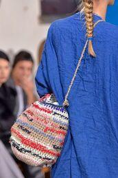 bag,raffia,raffia bag,blue,blue shirt,shirt,crossbody bag,bucket bag