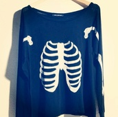 sweater,pastel goth,pastel,goth hipster,goth,black,skull,bones sweater,bones,lovely bones,kawaii,kawaii dark