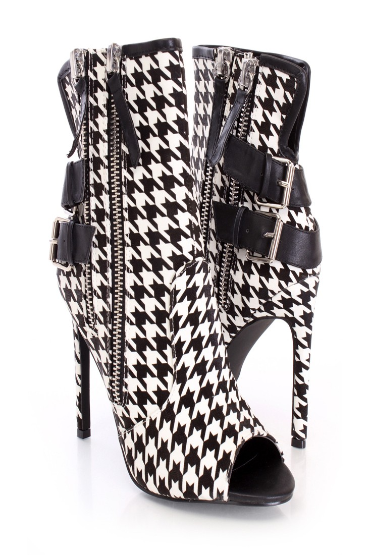 Black white zippers single sole booties fabric