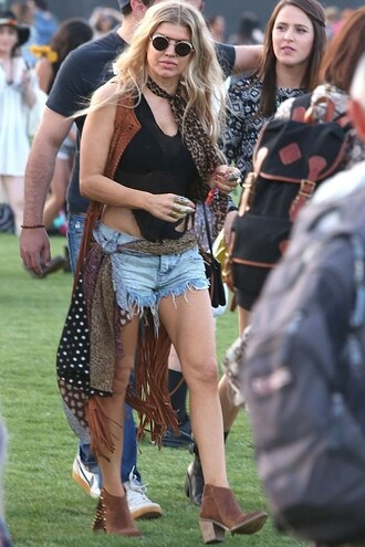 top shorts fergie coachella boho boots vest sunglasses coat