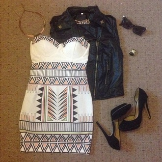 dress white dress aztec aztec print dress mini dress sweetheart neckline jacket jewels