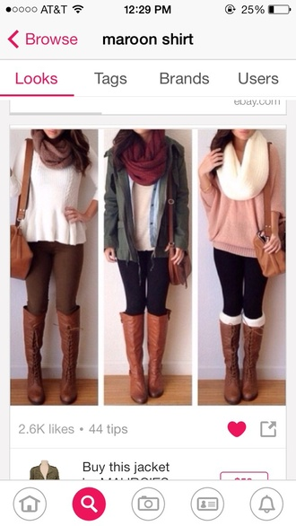 sweater scarf shoes