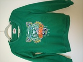 sweater,kenzo,kenzo sweater,kenzo paris sweater,green tiger sweater,green sweater,grey,kenzo sweatshirt,tiger,top,sweatshirt