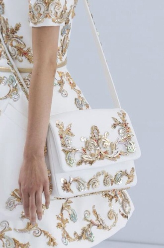 bag white bag gold sequins chanel chanel bag fashion tumblr outfit dress