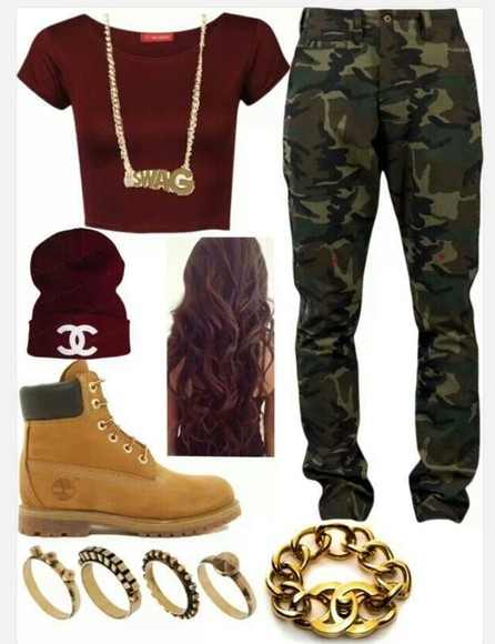 pants red crop top camo pants beanie swag timberlands t-shirt shoes jeans jewels hat shirt burgundy camouflage
