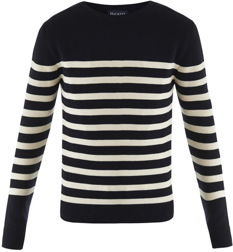 Hackett Nautical Stripe Sweater In Blue For Men Navy
