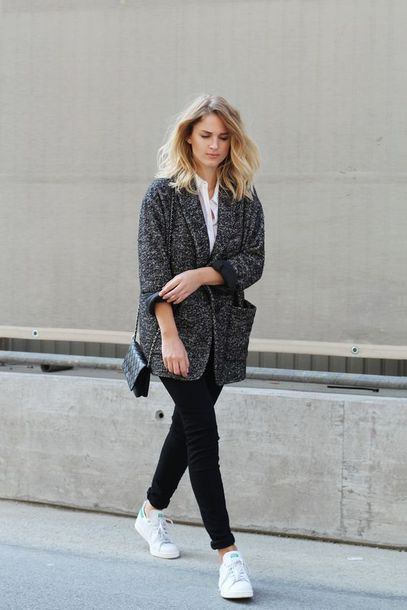 sunglasses tweed blazer white shirt black skinny jeans white sneakers blogger shoes black leggings white adidas sneakers