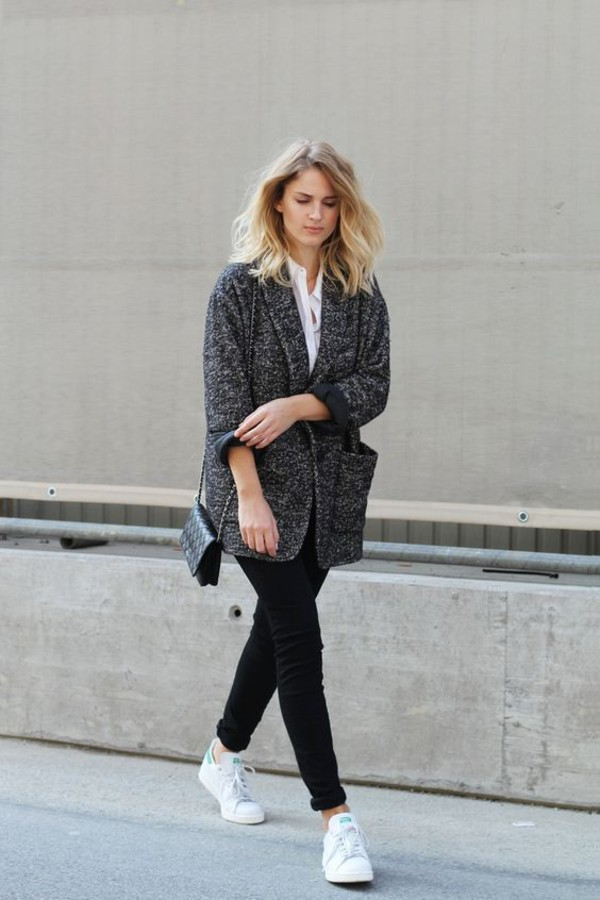 sunglasses tweed blazer white shirt black skinny jeans white sneakers blogger shoes black leggings white adidas sneakers