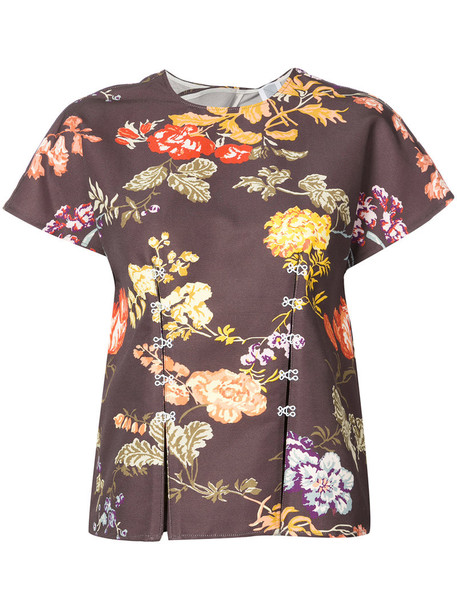 top women floral cotton brown