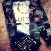 t-shirt,gucci,clothes,summer,camouflage,shorts,bracelets,jacket,jewels,shirt,necklace