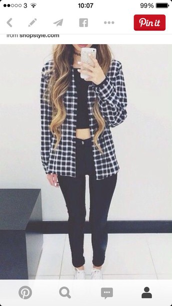 blouse black and white plaid checkered