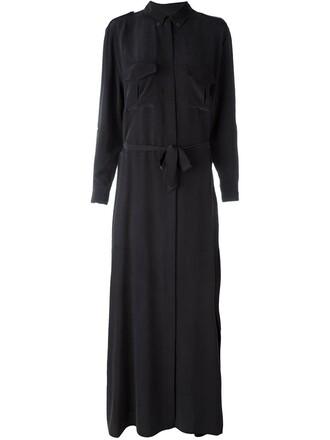 dress shirt dress long black