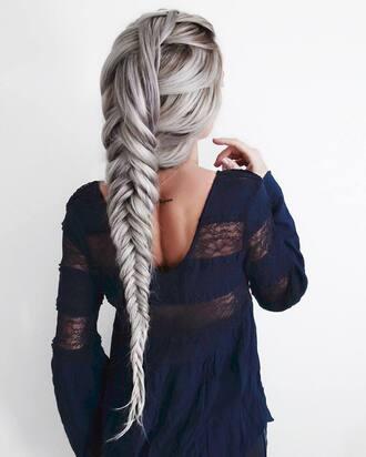 hair accessory tumblr silver hair hairstyles braided braid top blue top lace top mesh top mesh