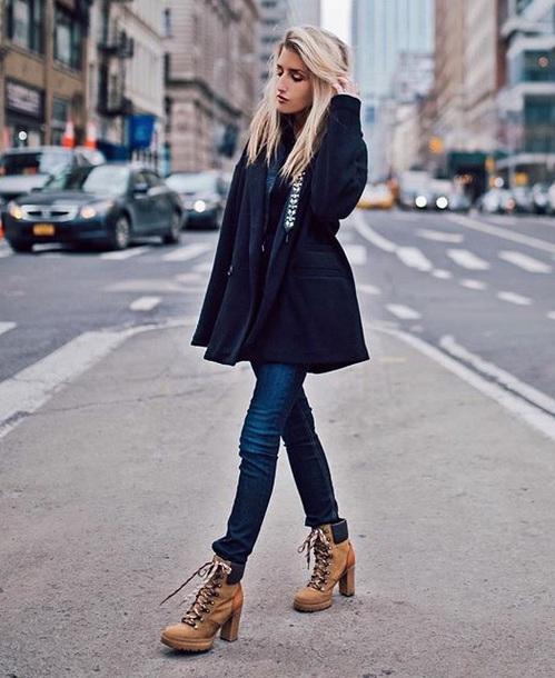 shoes black coat boots winter boots ankle boots denim blue jeans jeans coat
