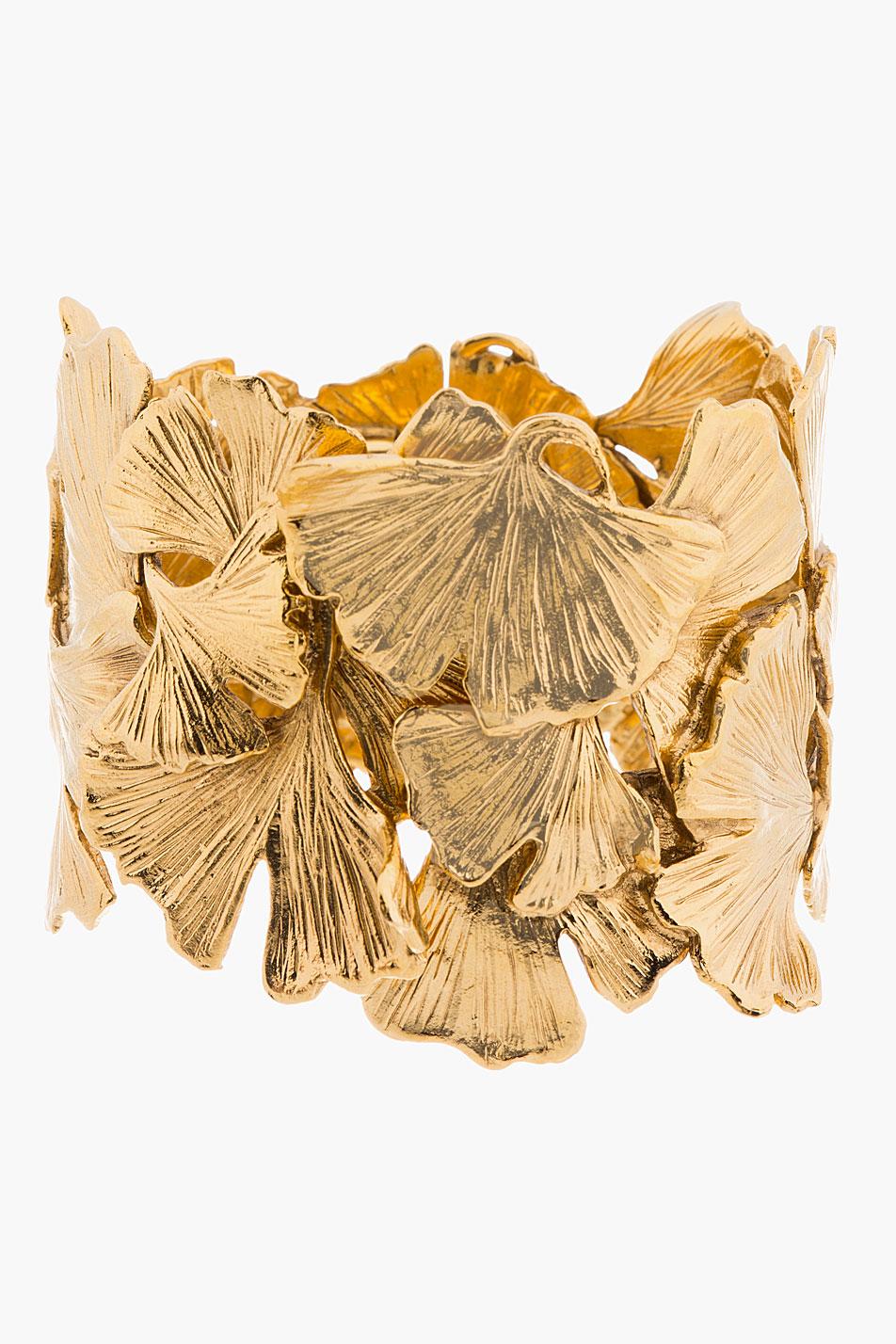 Aurlie bidermann gold articulated ginkgo leaf tangerine cuff