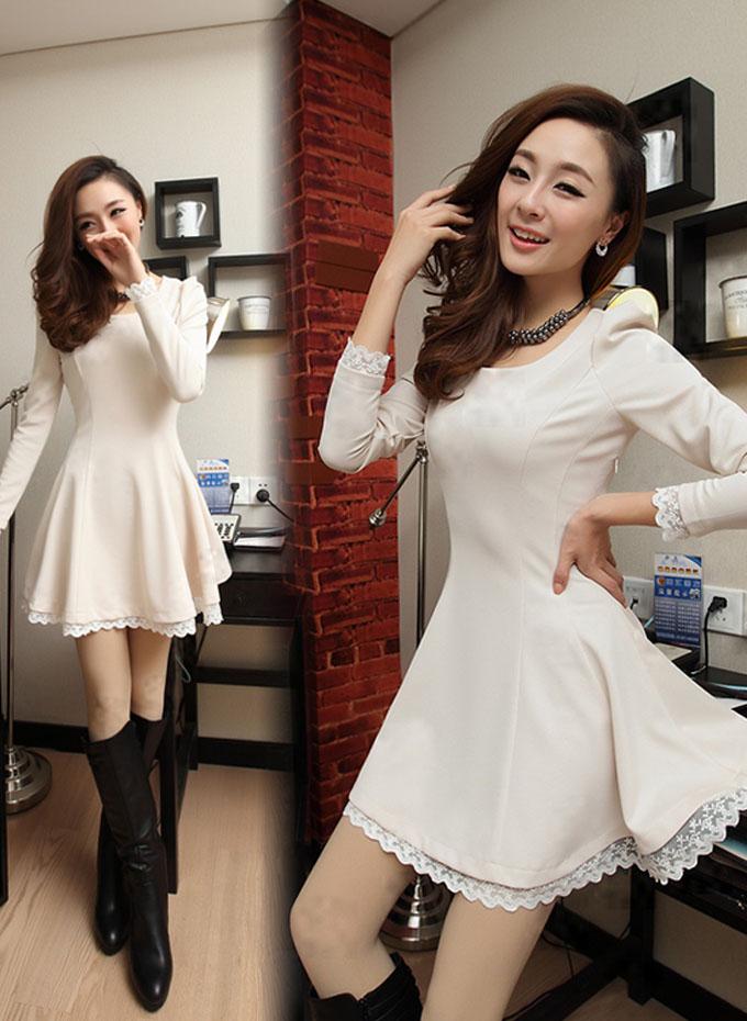 Lacing Up Back Lace Hem Long Sleeves White Dress on Luulla