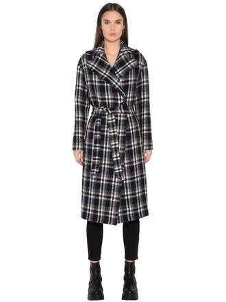 coat wool coat plaid double breasted wool white blue