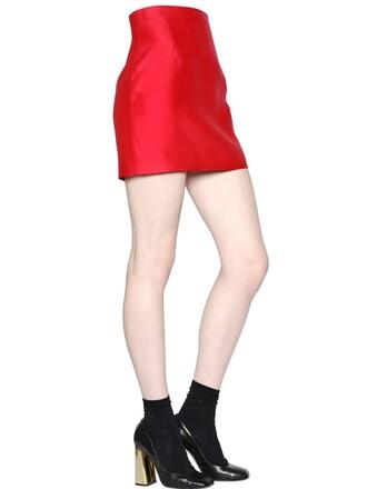 skirt silk wool red
