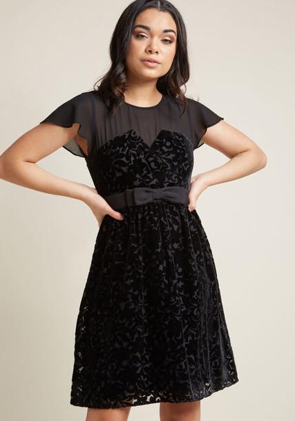 D61410 dress black dress little black dress bow fancy beautiful mesh luxury black velvet