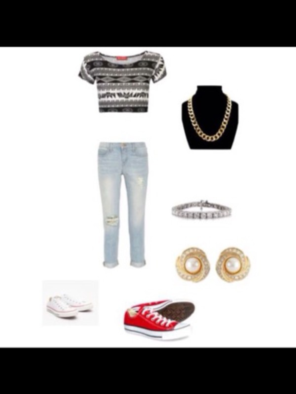 shirt aztec converse jeans chain gold