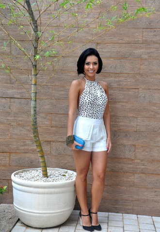 cuff bracelet summer outfits shorts halter neck top classy