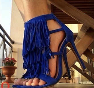 shoes heels blue fringes