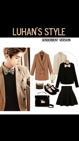 shirt exo skirt luhan blouse black black shirt style cool fashion korean fashion xi luhan white coat jacket top girly girl bows bowtie cute kawaii