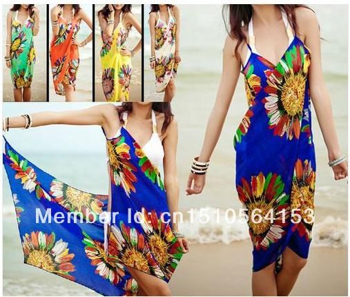 FREE SHIPPING 2014 summer Women saia casual dresses Deep V Wrap Chiffon Swimwear Bikini Cover Up Sarong brand sexy Beach Dress   Amazing Shoes UK