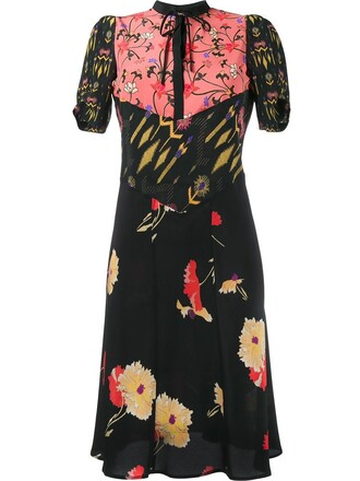 dress print dress women floral print black silk