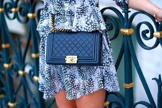dress pattern leopard print blue black streetwear bag chanel