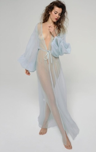 pajamas robe lingerie sexy love fashion couture sheer blue