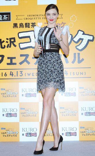 dress mini dress miranda kerr pumps lace dress black and white