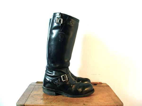 Vintage 90's black engineer boots, tall knee high boots, black ...